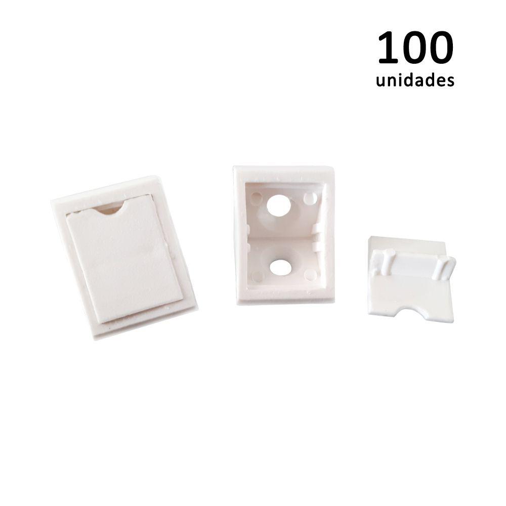 Kit União Angular 2 Furos Branco com 100 peças