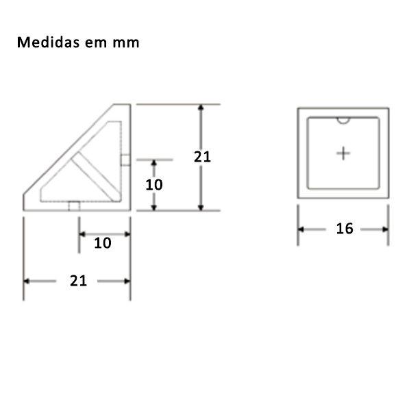 Kit União Angular 2 Furos Preto com 100 peças