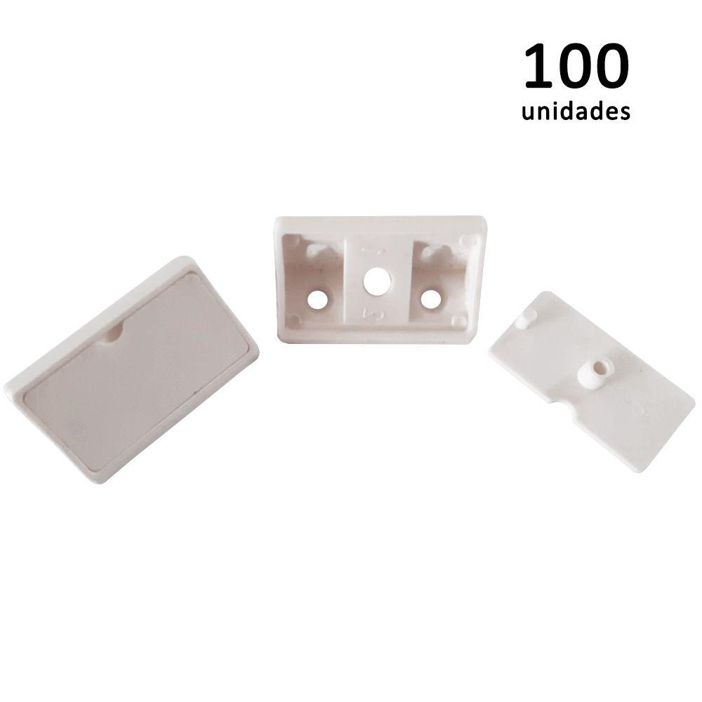 Kit União Angular 4 Furos Branco com 100 peças