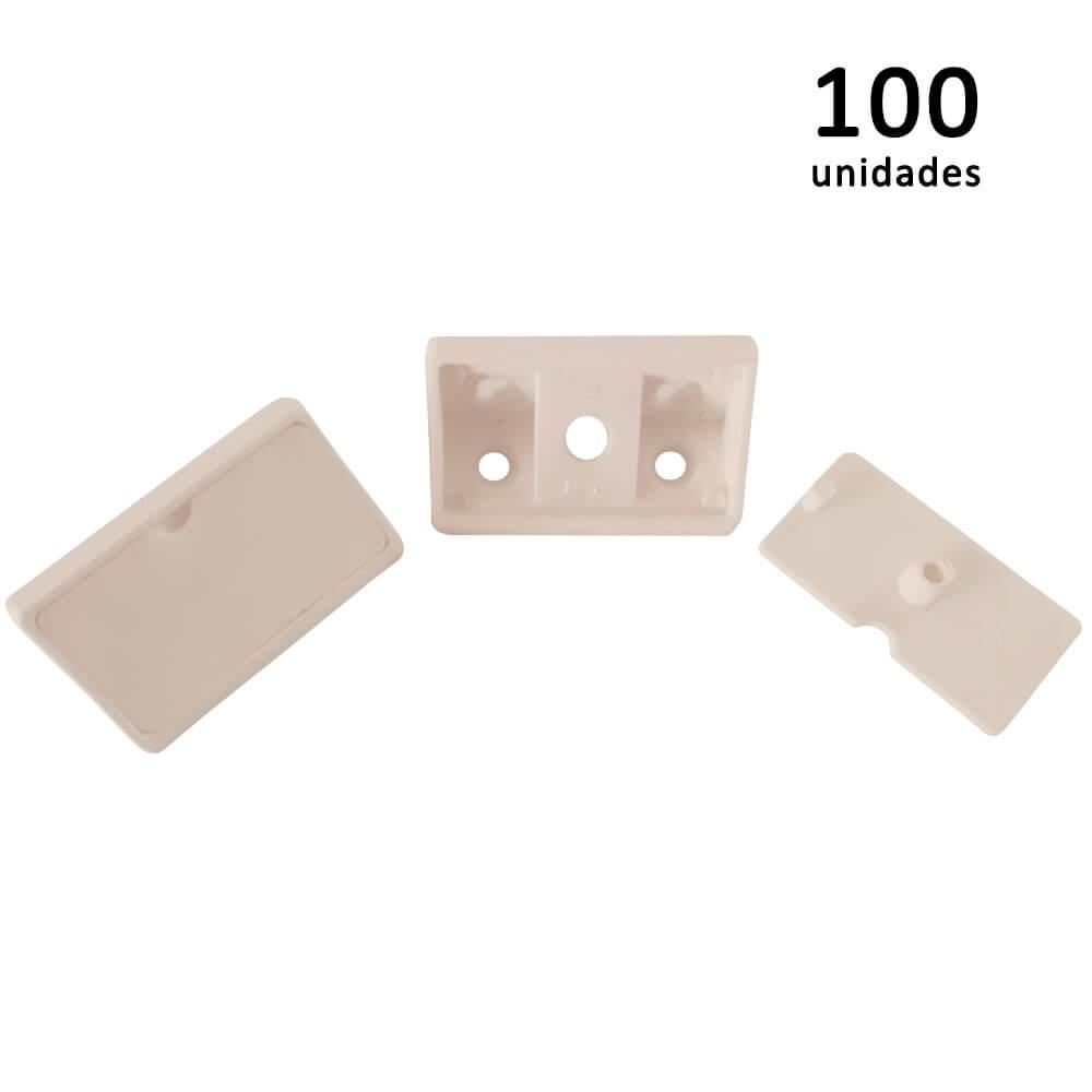 Kit União Angular 4 Furos Marfim com 100 peças