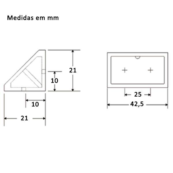 Kit União Angular 4 Furos Preto com 100 peças