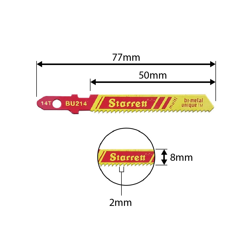 Lâmina Para Serra Tico-Tico Starrett 50mm Com 14 Dentes BU214 - 2pçs
