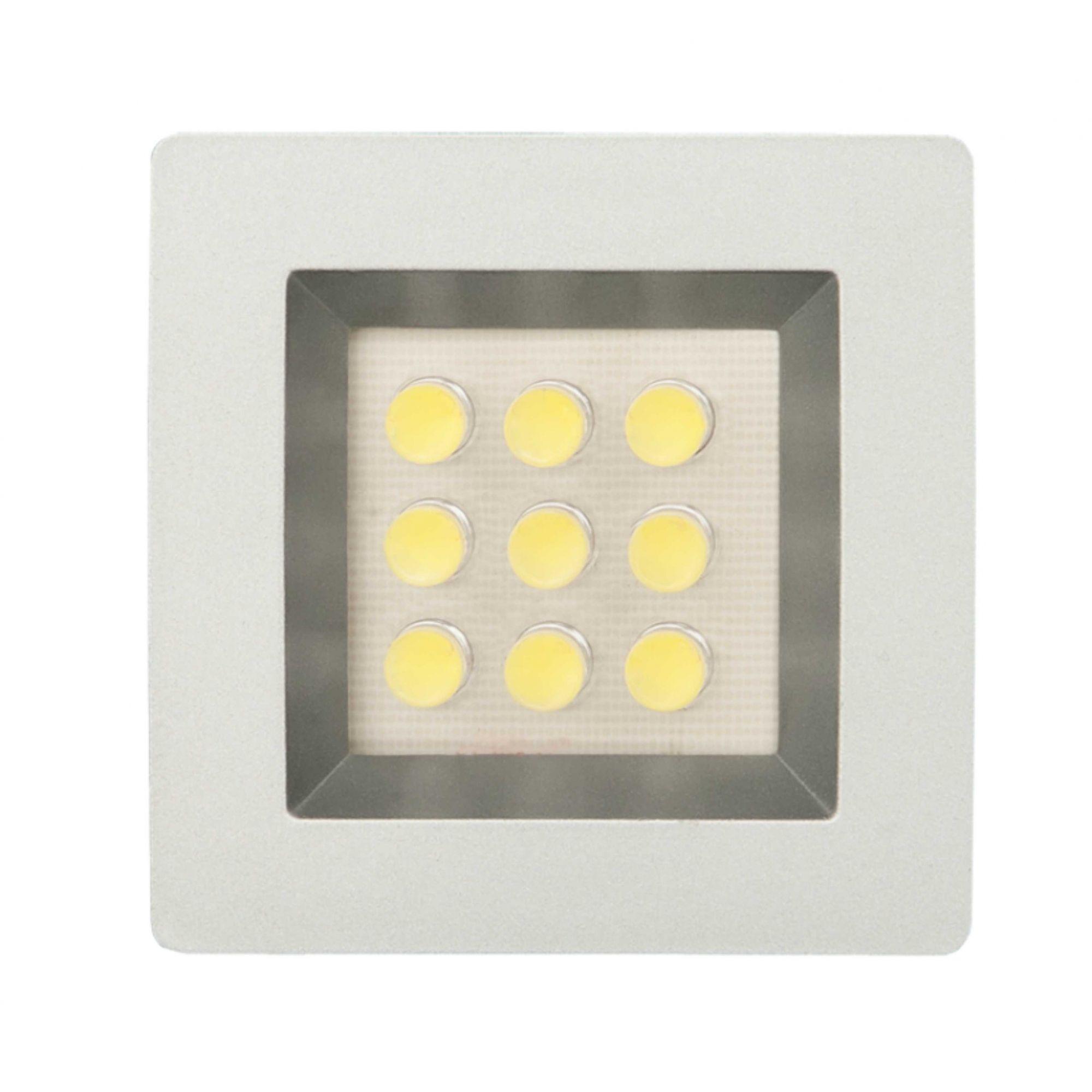Luminária Quadrada Embutida com 9 Leds 51mm Branco frio Bivolt