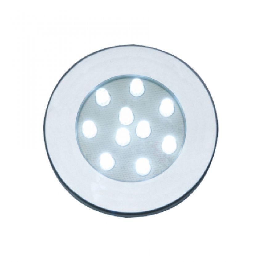 Luminária Redonda de Embutir com 10 Leds Branco Frio 70mm