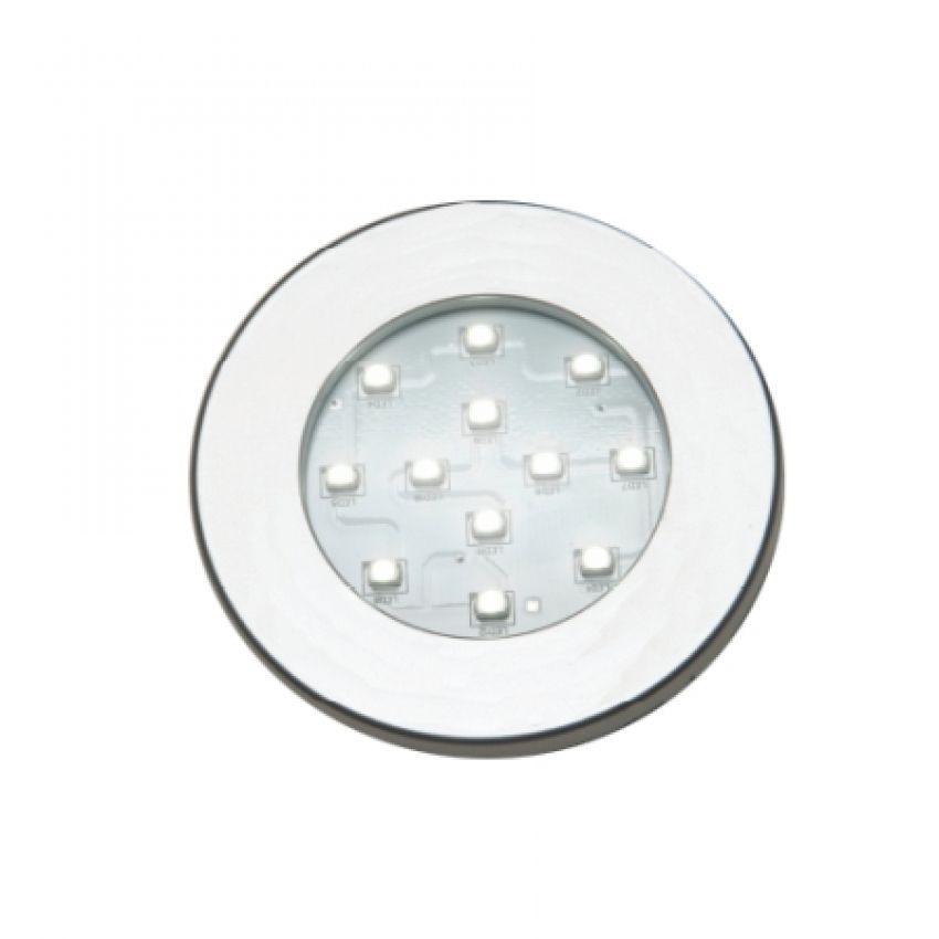 Luminária Redonda de Embutir com 12 Leds Branco Frio 70mm