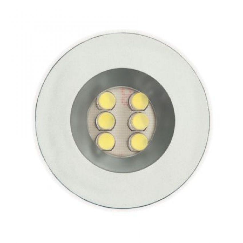 Luminária Redonda de Embutir com 6 Leds Branco Frio 52mm