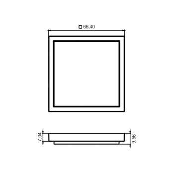 Luminária Quadrada de Sobrepor Slim 66mm com 8 Leds Branco Frio Bivolt