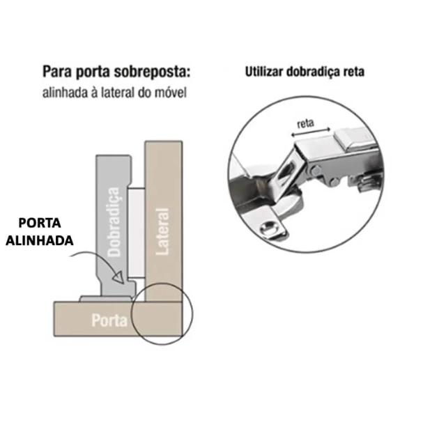 Mini Dobradiça 26mm c/ Amortecedor