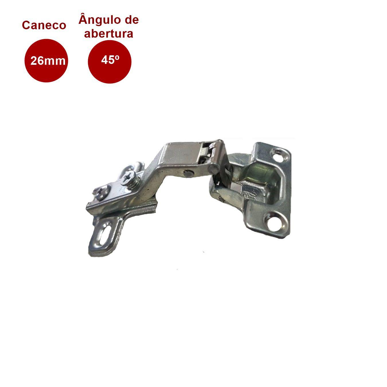 Mini Dobradiça 45° Caneco 26mm