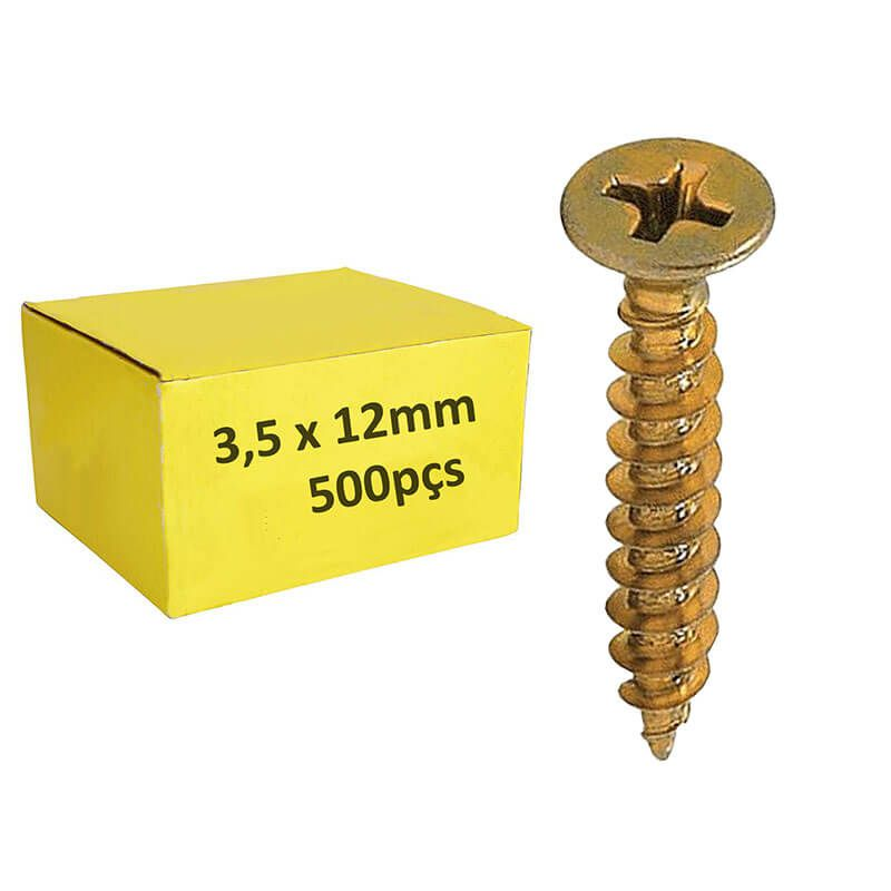 Parafuso 3,5mm x 12mm ChipBoard bicromatizado Cx c/ 500pçs