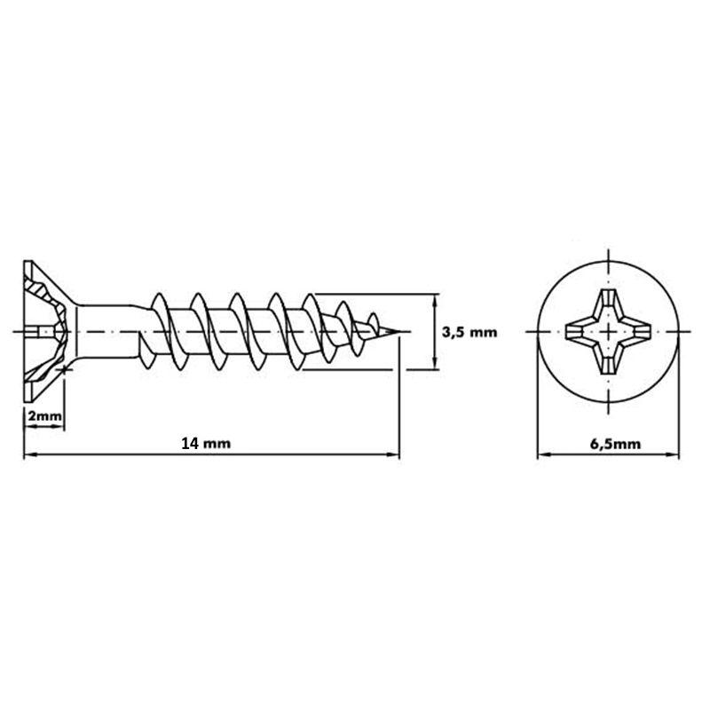 Parafuso 3,5mm x 14mm ChipBoard bicromatizado Cx com 500pçs