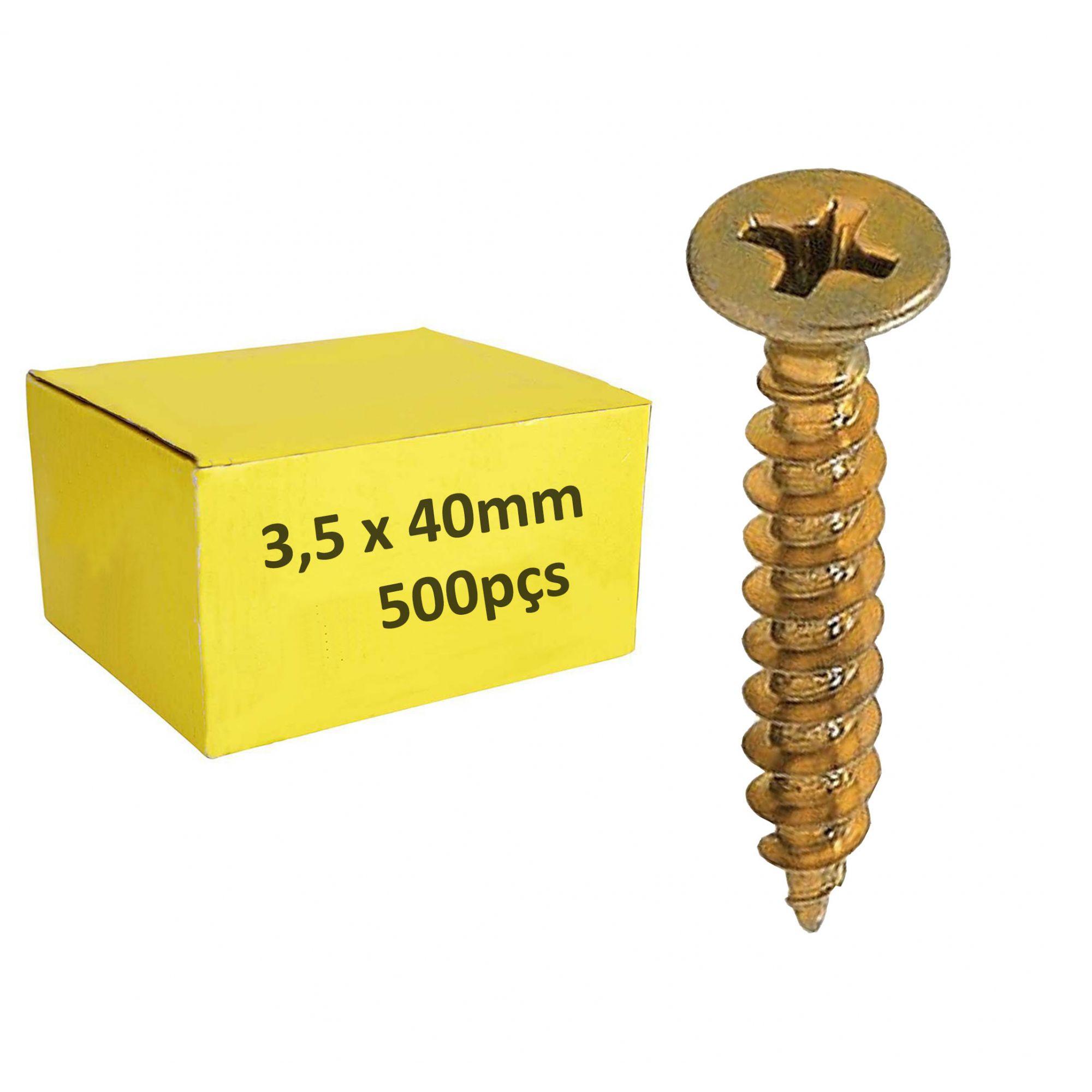 Parafuso 3,5mm x 40mm ChipBoard bicromatizado Cx c/ 500pçs