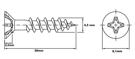 Parafuso 4,5mm x 20mm ChipBoard bicromatizado Cx c/ 500pçs