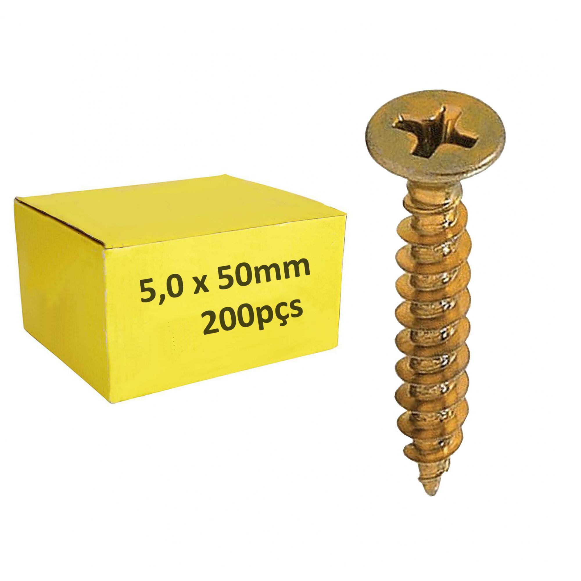 Parafuso 5,0mm x 50mm ChipBoard bicromatizado Cx c/ 200pçs