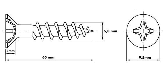 Parafuso 5,0mm x 60mm ChipBoard bicromatizado Cx c/ 200pçs
