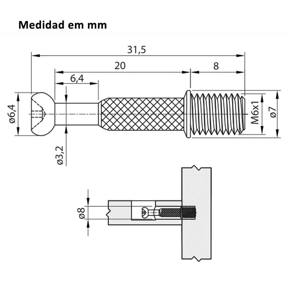 Parafuso Minifix 6x33mm Pacote com 100 Unidades