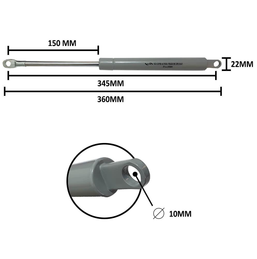 Pistão para Cama Box Pequeno 345mm padrão Ortobom