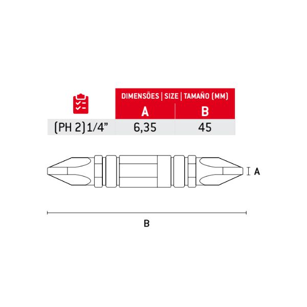 Ponta para Parafusadeira PH2 CrV Torção Dupla 45mm