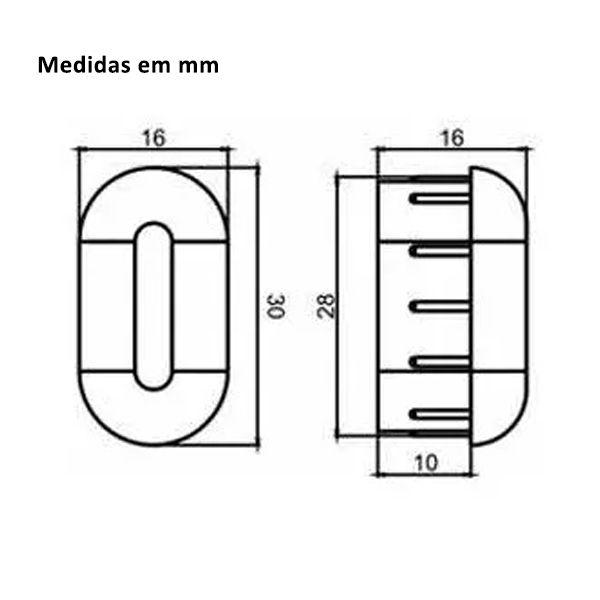 Ponteira Cromada pra Tubo Cabideiro Oblongo Oval de Guarda-Roupa