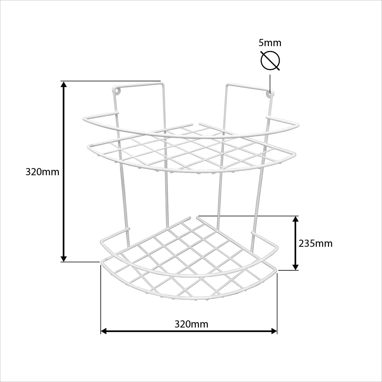 Prateleira Dupla Aramada de Canto Dupla Branca - 23,5cm x 23,5cm x 32,0cm