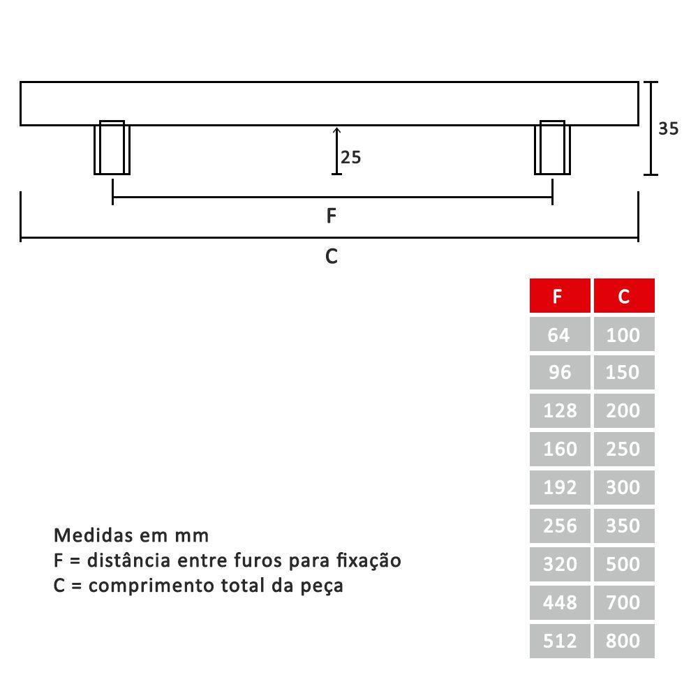 Puxador Barra Quadrada 10mm de Inox