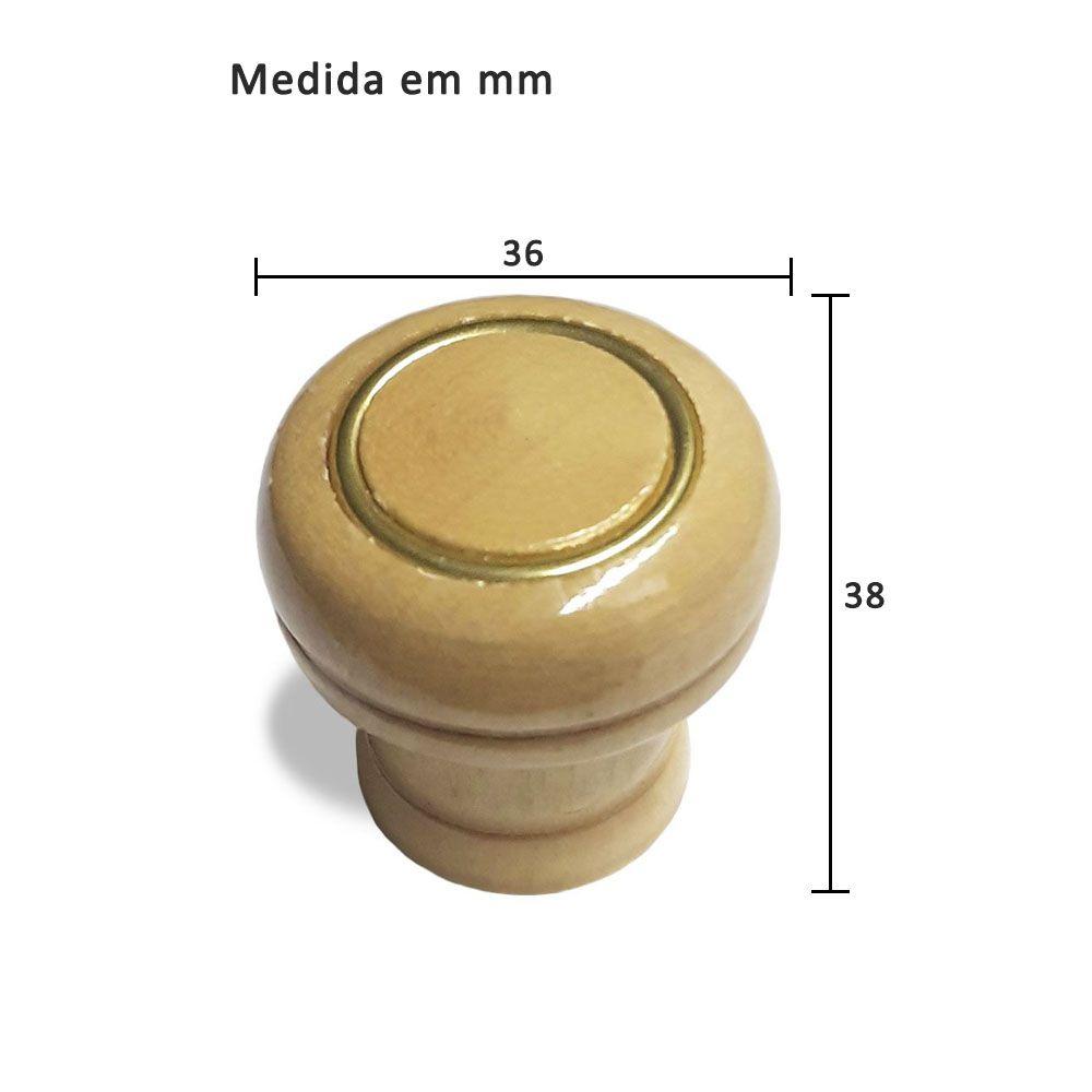 Puxador Botão para Móveis Madeira Com Anel