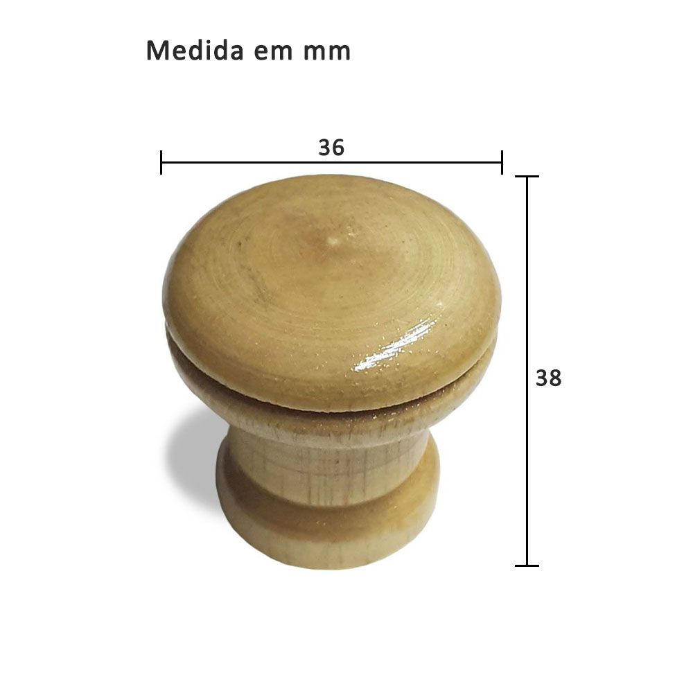 Puxador Botão para Móveis Madeira Sem Anel
