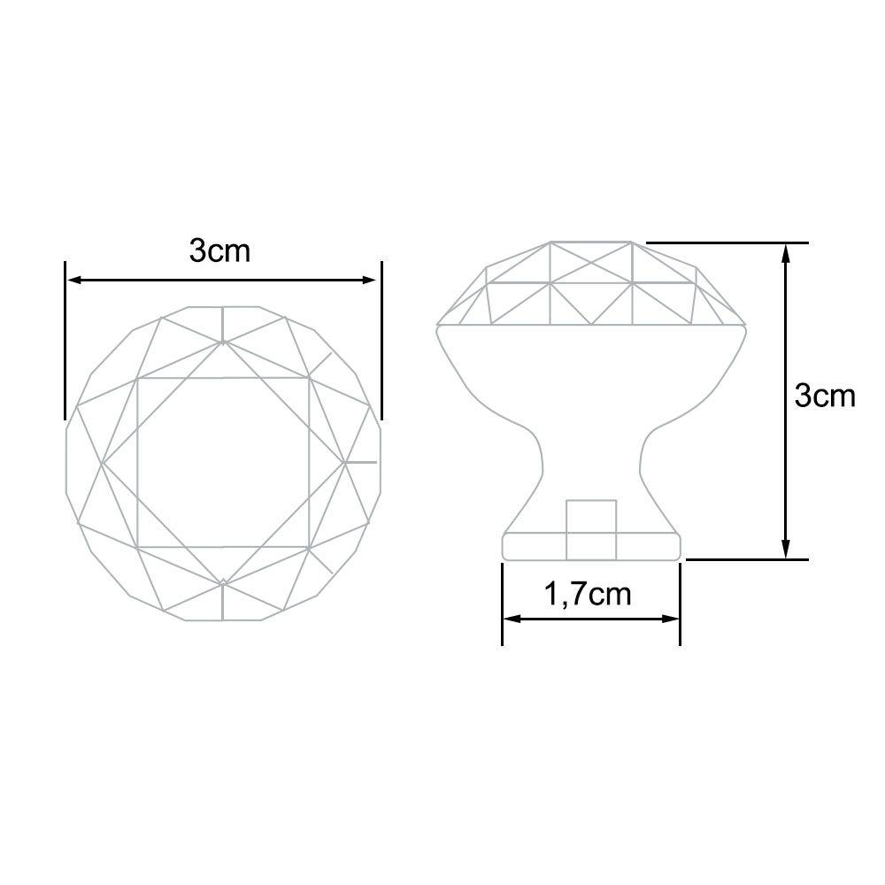 Puxador de Gaveta Botão Cristal FN