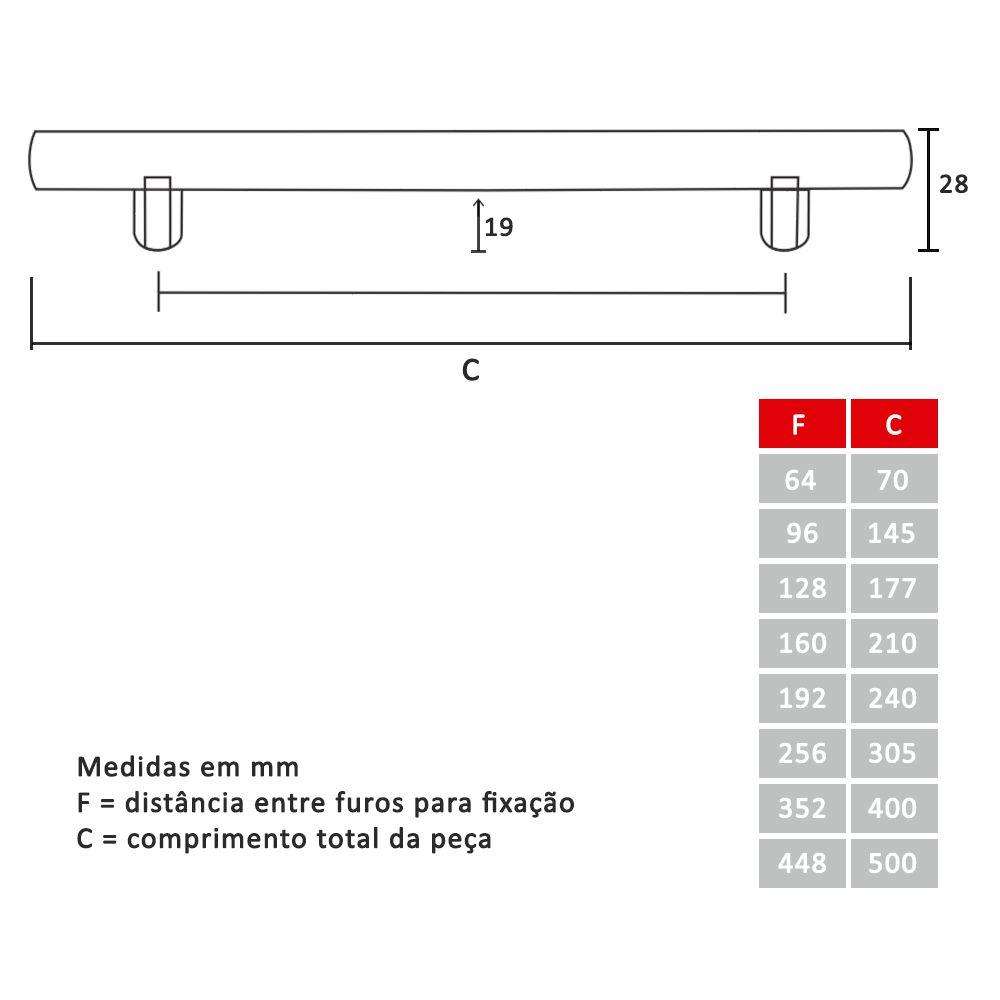 """Puxador para Móveis Barra Fina Redonda de 3/8"""" Com Friso"""