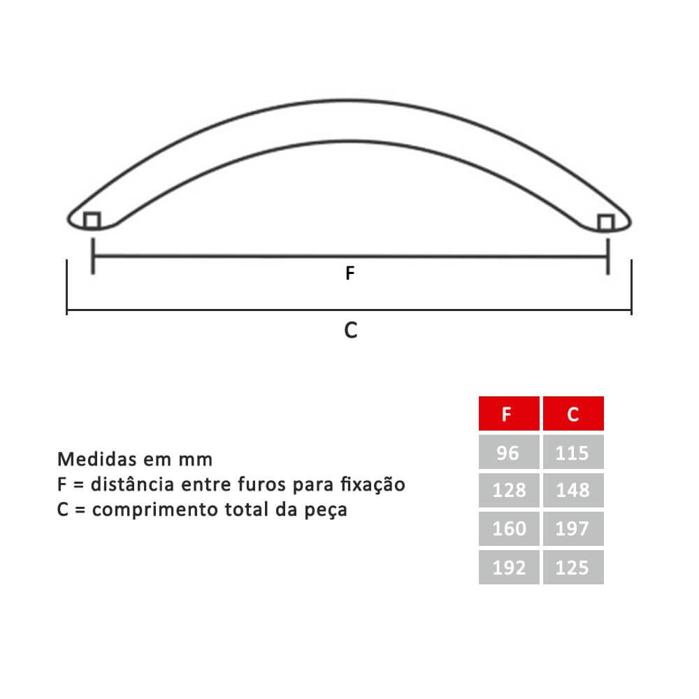 Puxador para Móveis Modelo Arco