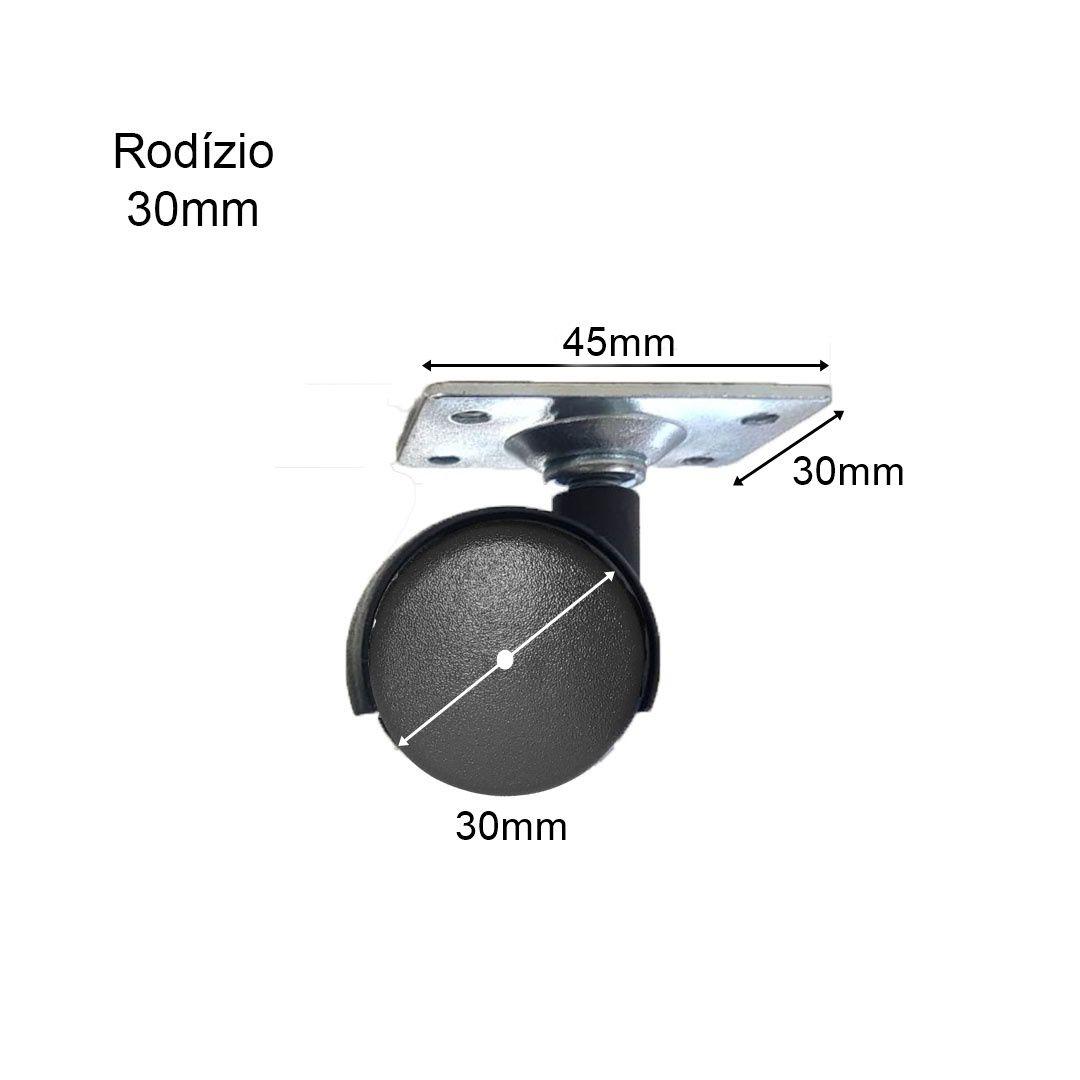 Rodízio de Plástico Preto Chapa Reta 30x45 para Móveis