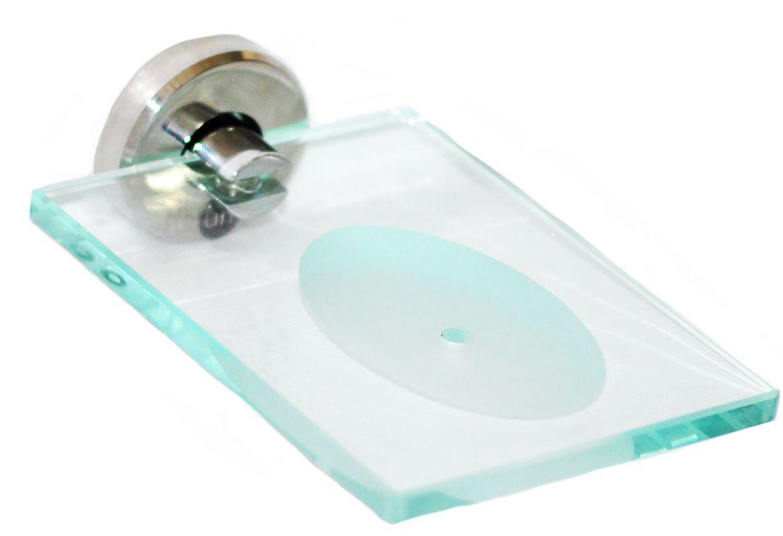 Saboneteira de inox com vidro
