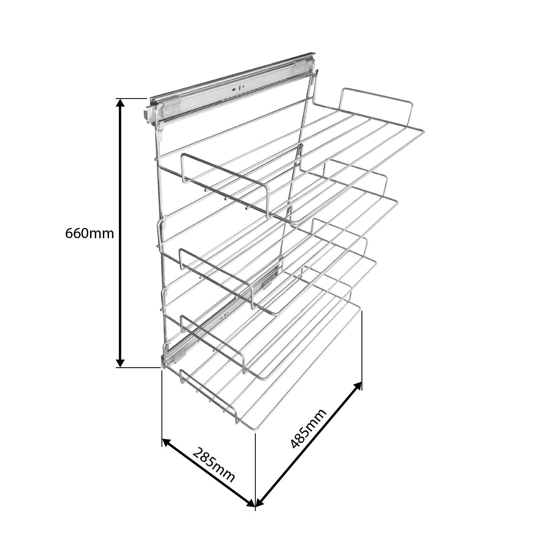 Sapateira Cromada de Extração com 4 Prateleiras e Trilhos - 285mm x 660mm x 485mm