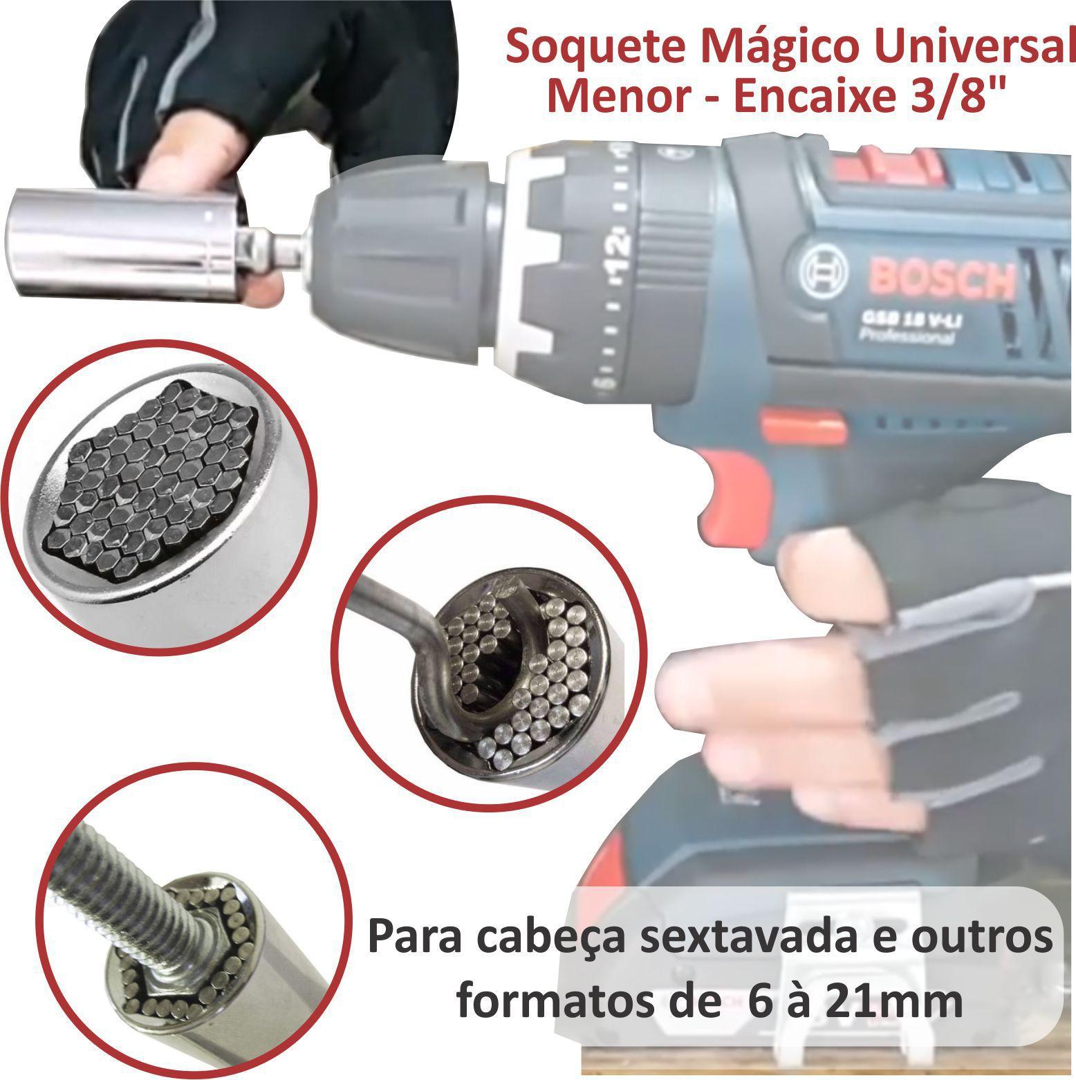 "Soquete Mágico Universal Multidimensional Menor c/ Encaixe 3/8"""