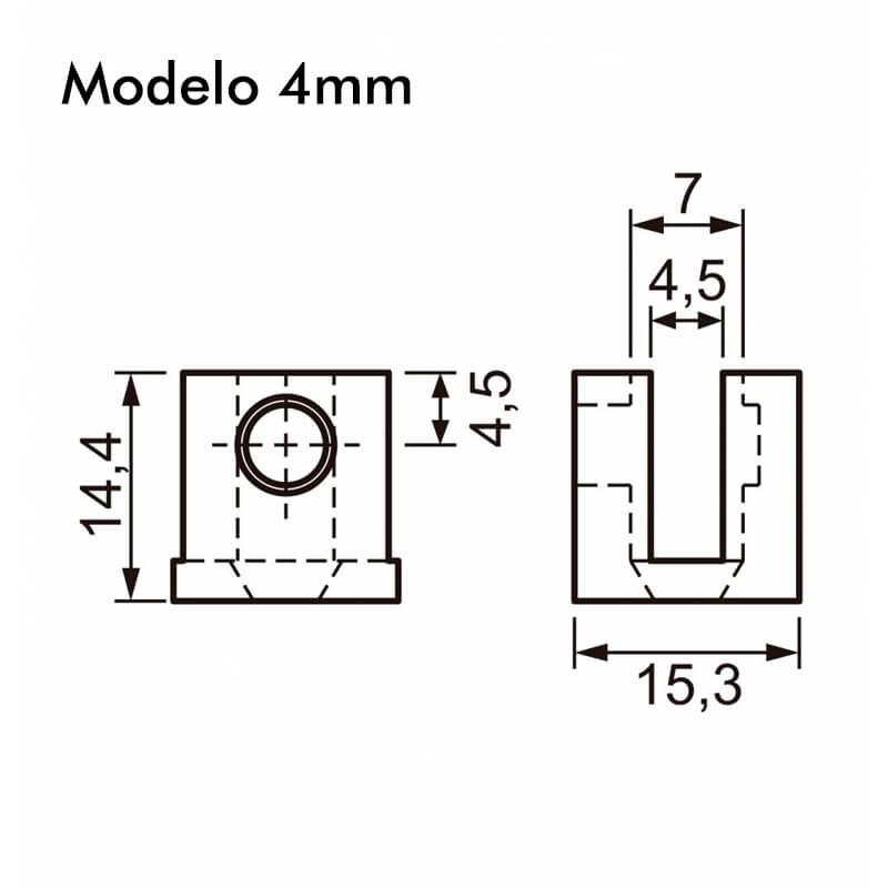 Suporte Fenda plástico 4mm Cr