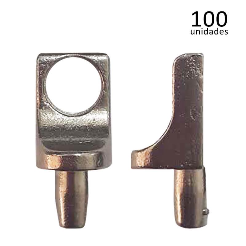 Suporte para Prateleira Pino Furo 10 x 14,5mm Níquel com 100 unidades