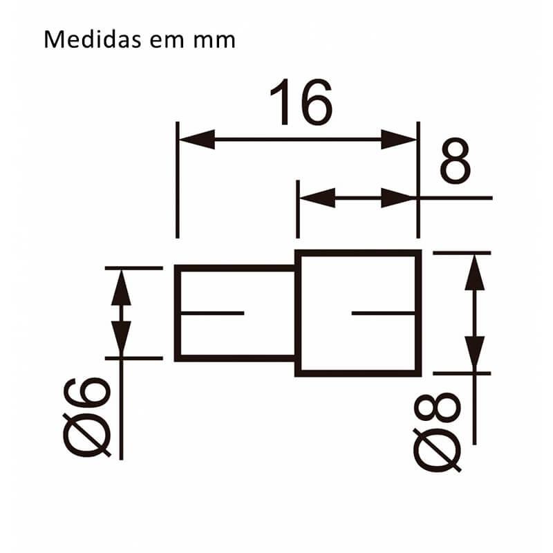 Suporte Pino 6 x 8mm Níquel com 100 unidades