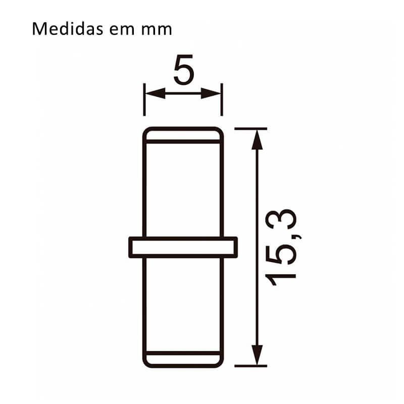 Suporte Pino Com Anel 5 x 15mm Níquel 100 Unidades