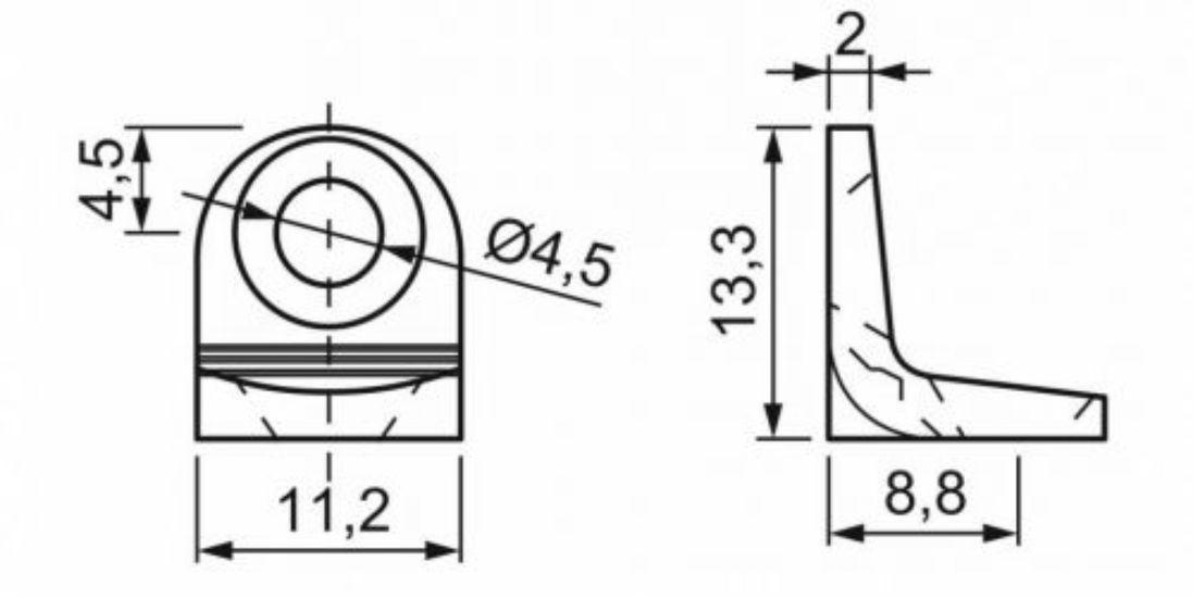 Suporte Prateleira 2 Furos 13x13mm Leve Pacote c/ 100pçs