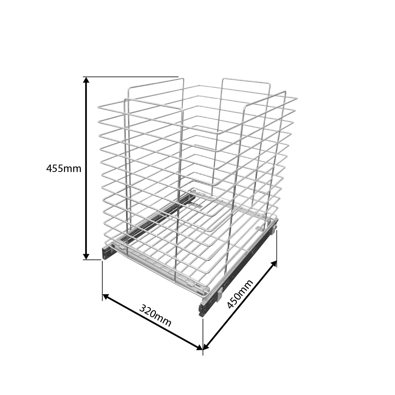 Tulha de Base com Trilhos Telescópicos 320mm x 455mm x 450mm