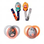 Kit 2 Chupetas 0-6 meses laranja e 2 Prendedores (L/C) Tommee Tippee