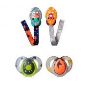 Kit 2 Chupetas 6-18 meses cinza com 2 prendedores (L/C) Tommee Tippee