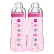 Kit 2 Mamadeiras Easy Active 330ml Rosa - MAM