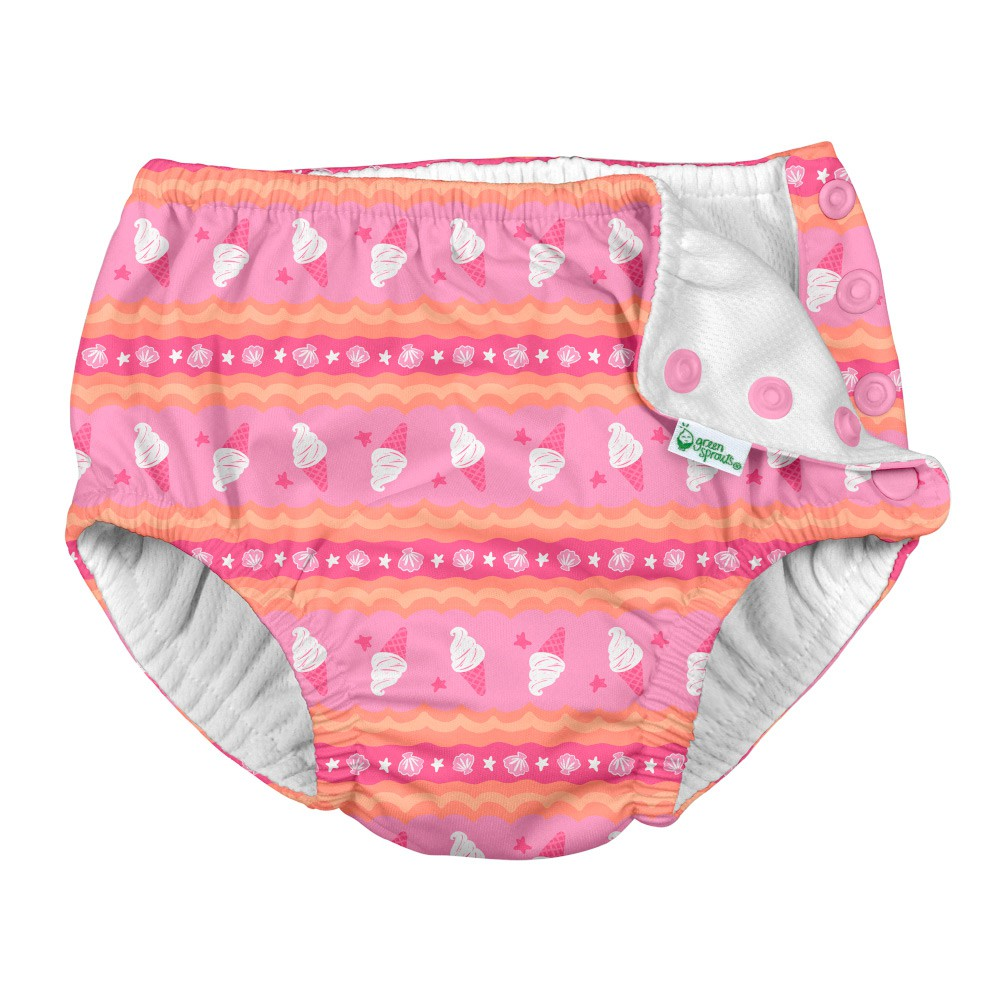 Calcinha Banho c/ Fralda Embutida Sorvete Pink - iPlay