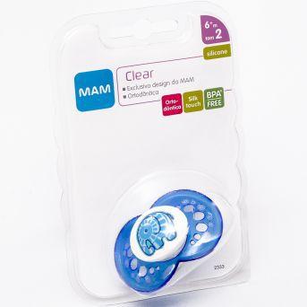 Chupeta Clear Silk Touch 6m+ Azul - MAM