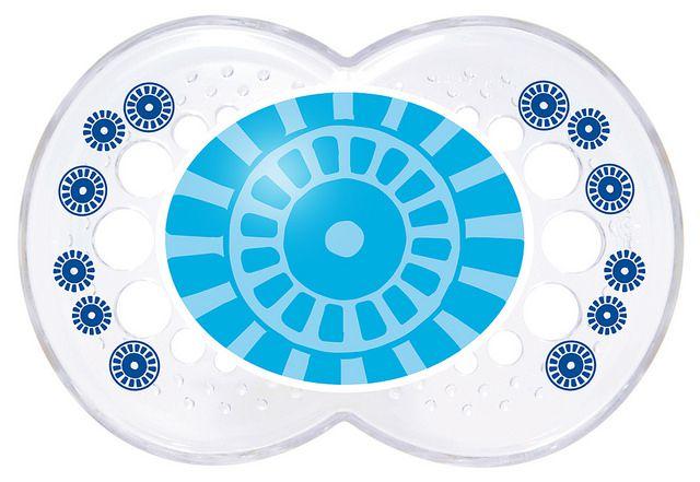 Chupeta Clear Silk Touch 6m+ Transp. Azul - MAM