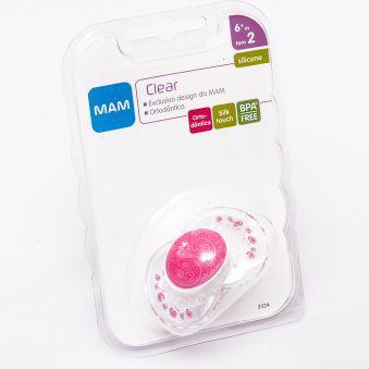 Chupeta Clear Silk Touch 6m+ Transp. Rosa - MAM