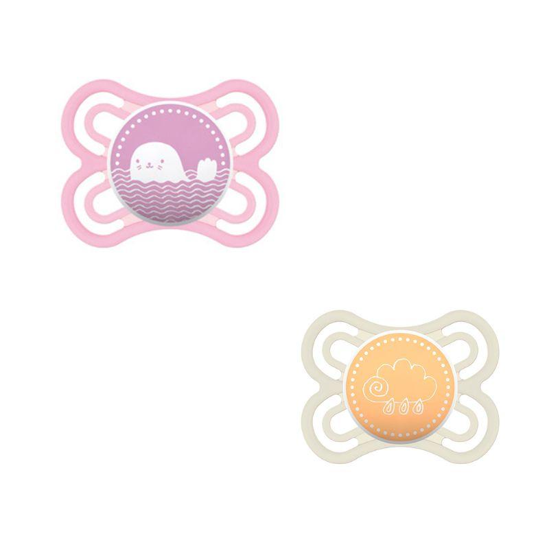 Chupeta Perfect 0-6m Rosa/Amarela - 2 unidades - MAM