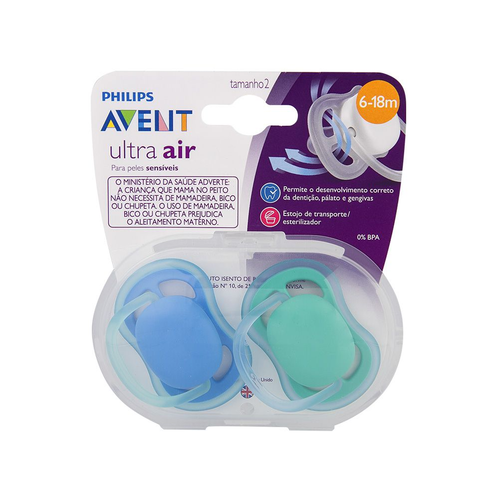Chupeta Ultra Air Lisa 6-18m Menino 2 unid. (SCF244/22) - Philips Avent