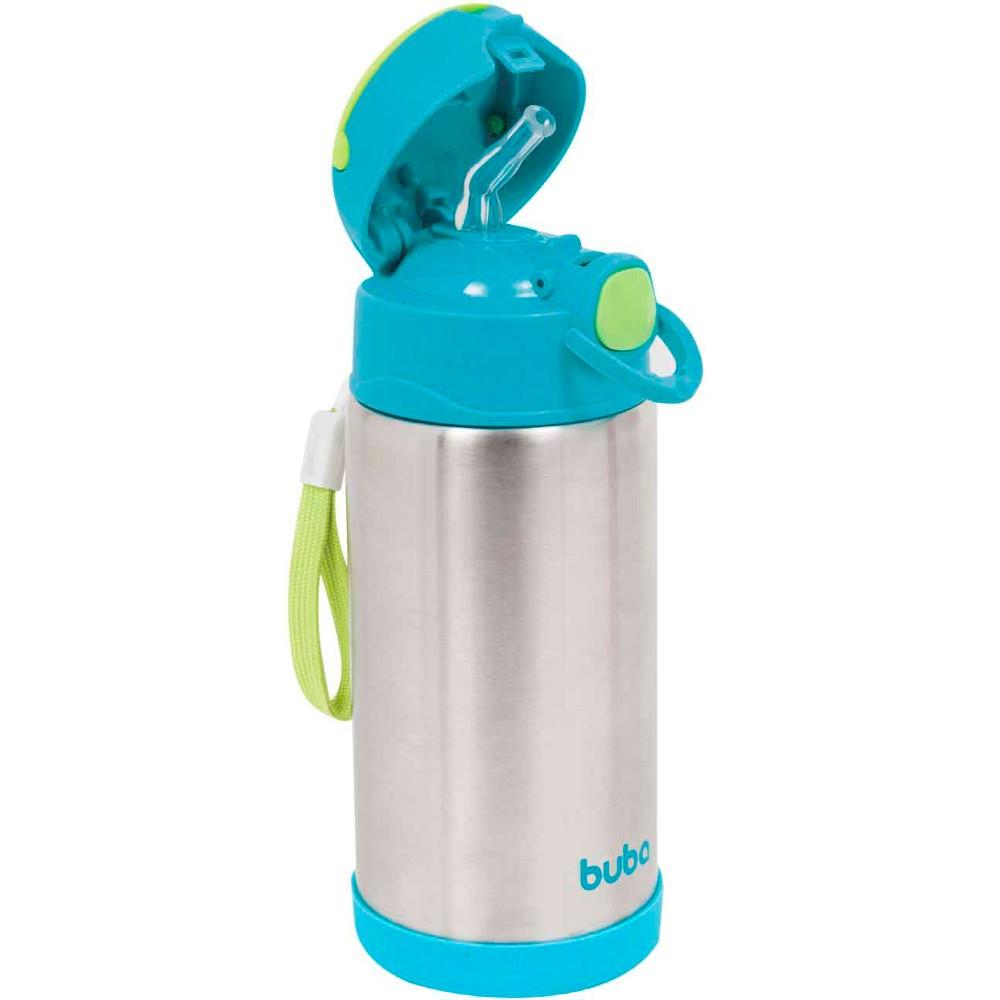 Garrafa Térmica Parede Dupla com Canudo 420ml Azul - Buba